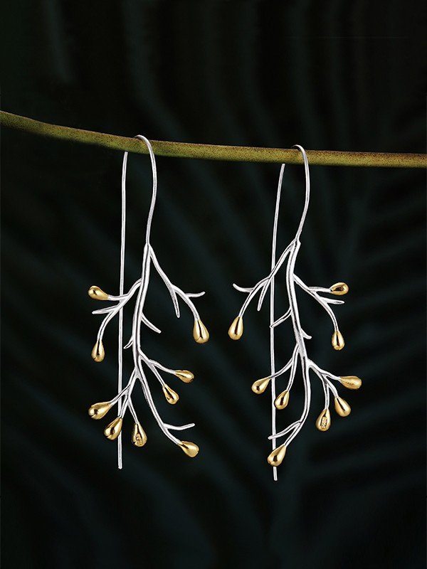 Fashion Tree 925 Sterling Silver Earrings For Ladies