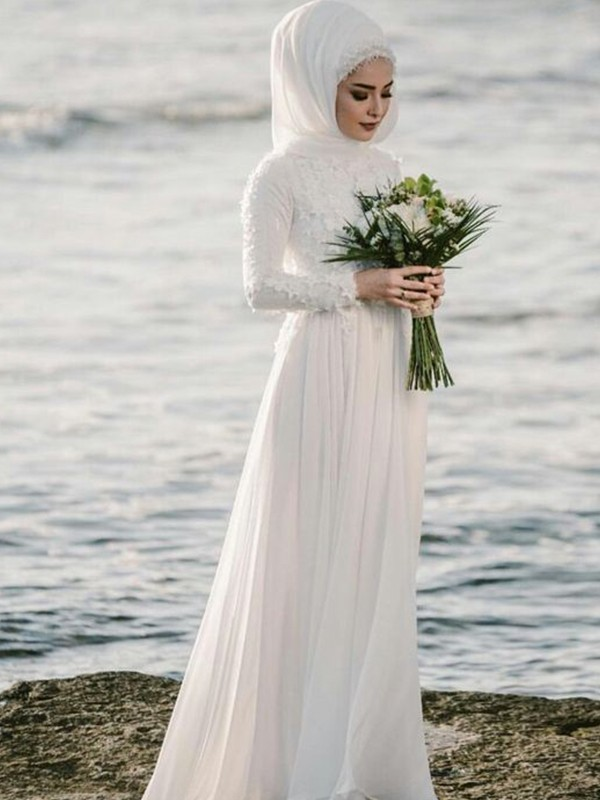Floor-Length A-Line/Princess Jewel Long Sleeves Wedding Dresses with Chiffon