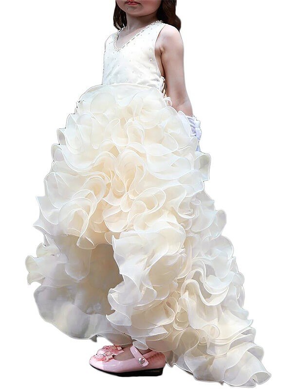 A-line/Princess V-neck Asymmetrical Organza Ruffles Flower Girl Dress