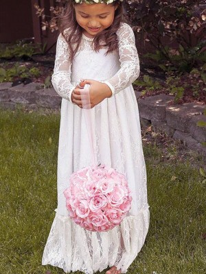 A-Line/Princess Jewel Bowknot Floor-Length Flower Girl Dress with Lace