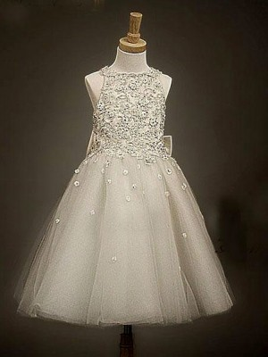 A-line/Princess Scoop Bowknot Flower Girl Dress with Tulle
