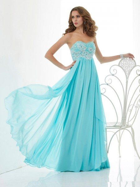 A-Line/Princess Beading Sweetheart Dress with Chiffon