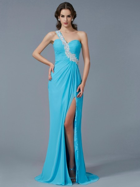 Sheath/Column One-Shoulder Beading Applique Dress with Long Chiffon