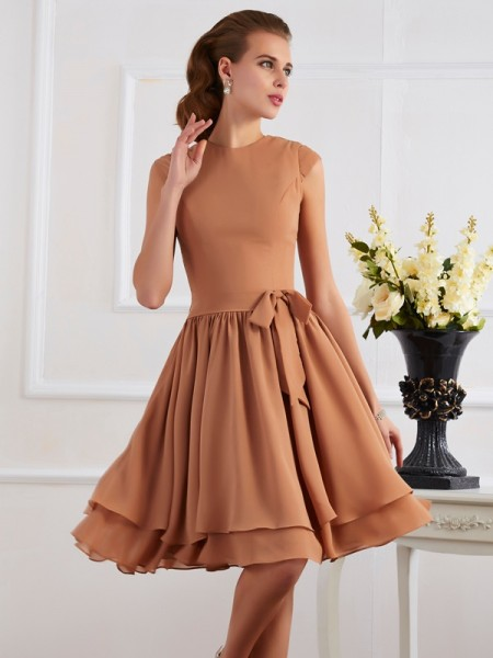 Sheath/Column High Neck Sash/Ribbon/Belt Short Chiffon Bridesmaid Dress