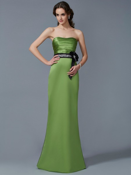 Sheath/Column Strapless Sash/Ribbon/Belt Long Satin Bridesmaid Dress