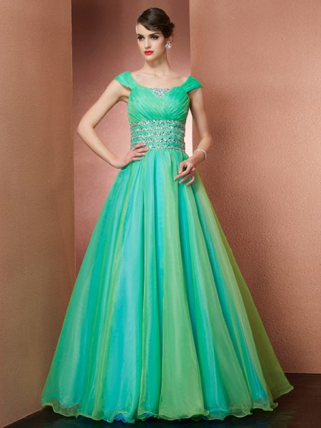 Ball Gown Off the Shoulder Beading Long Satin Quinceanera Dress