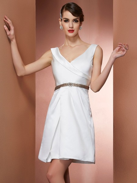 A-Line/Princess Straps Beading Short Satin Bridesmaid Dress
