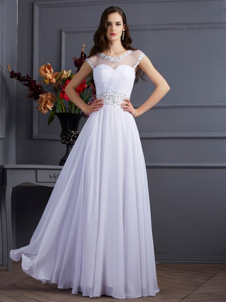A-Line/Princess Bateau Short Sleeves Beading Dress with Long Chiffon