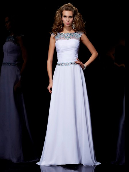 A-Line/Princess Scoop Short Sleeves Beading Dress with Long Chiffon