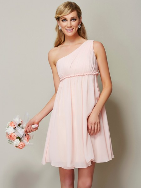 A-Line/Princess One-Shoulder Sash/Ribbon/Belt Short Chiffon Bridesmaid Dress