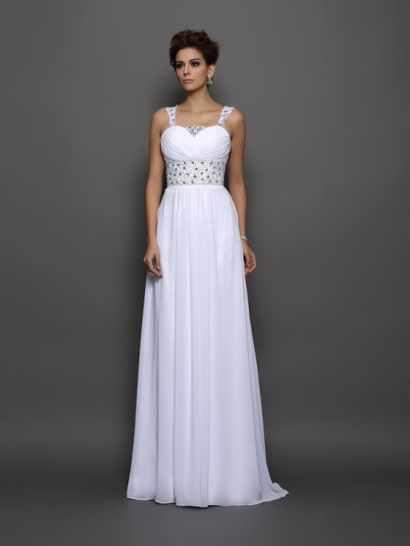 A-Line/Princess Straps Beading Wedding Dress with Long Chiffon