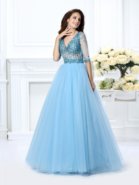 Ball Gown V-neck Beading 1/2 Sleeves Long Satin Quinceanera Dress