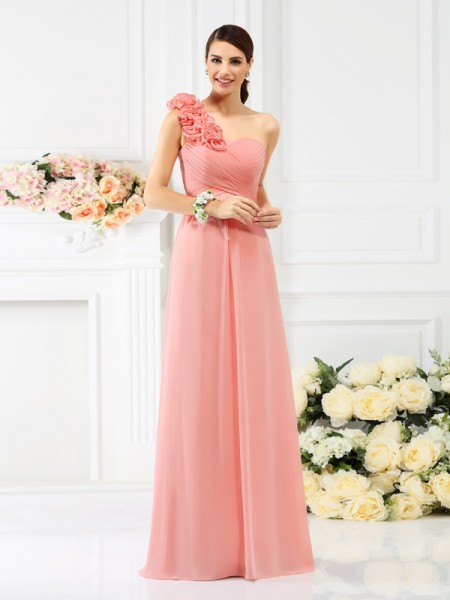 A-Line/Princess One-Shoulder Bridesmaid Dress with Long Chiffon