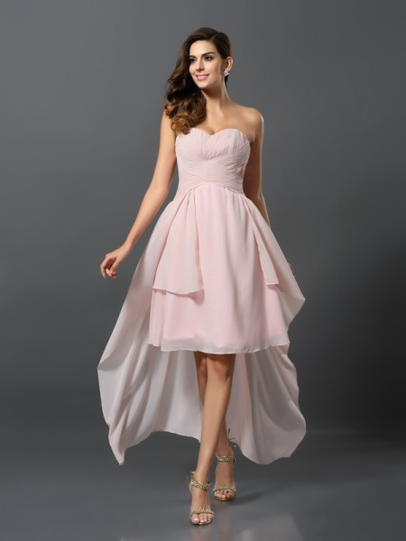 A-Line/Princess Sweetheart Pleats High Low Chiffon Bridesmaid Dress