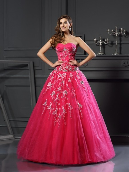 Ball Gown Sweetheart Applique Long Net Quinceanera Dress