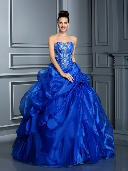 Ball Gown Sweetheart Applique Long Satin Quinceanera Dress