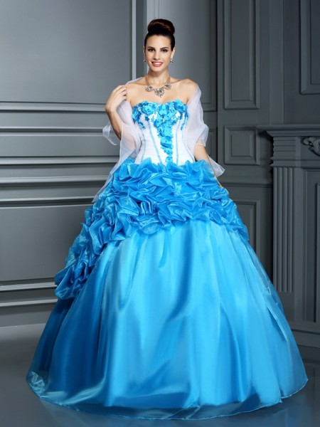Ball Gown Sweetheart Ruffles Long Satin Quinceanera Dress