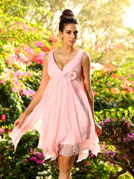 A-Line/Princess V-neck Ruffles Short Chiffon Bridesmaid Dress
