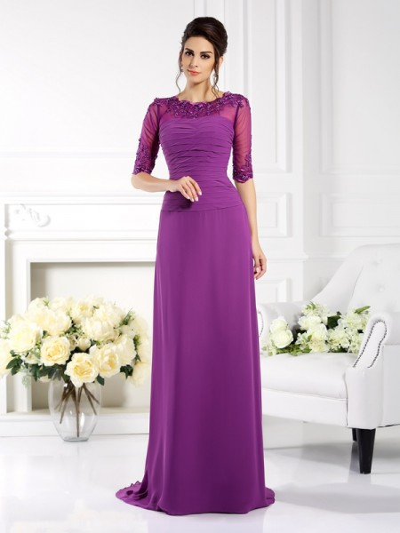 Sheath/Column Scoop Applique 1/2 Sleeves Mother of the Bride Dress with Long Chiffon