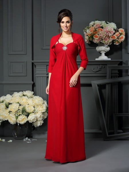 A-Line/Princess Spaghetti Straps Beading Mother of the Bride Dress with Long Chiffon