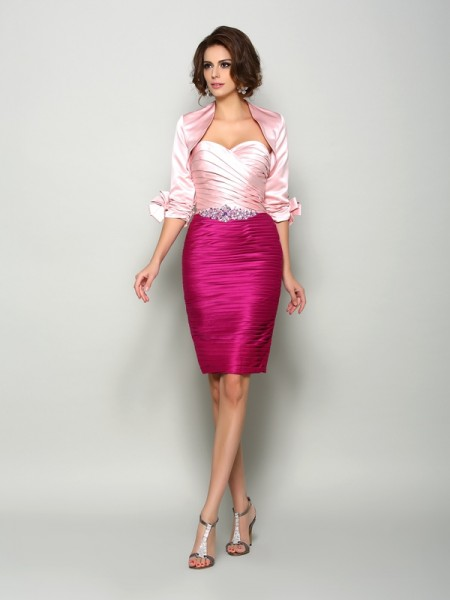 Sheath/Column Sweetheart Beading Short Satin Mother of the Bride Dress