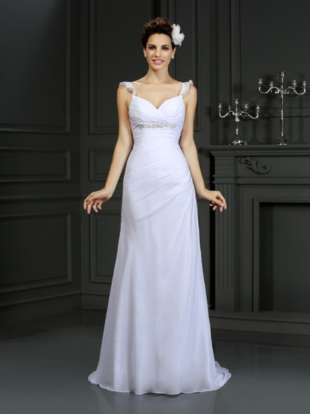 Trumpet/Mermaid Straps Beading Wedding Dress with Long Chiffon