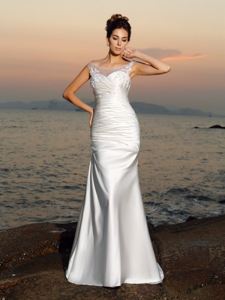 Trumpet/Mermaid Scoop Beading Long Satin Beach Wedding Dress