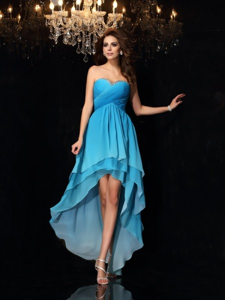 A-Line/Princess Sweetheart Ruched High Low Chiffon Dress