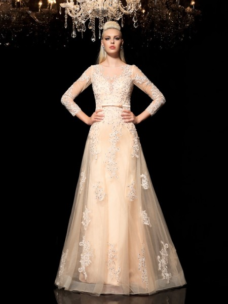 A-Line/Princess Sheer Neck Applique Long Sleeves Long Satin Dress