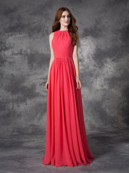 A-line/Princess Jewel Ruffles Chiffon Bridesmaid Dress
