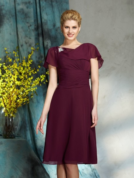 A-Line/Princess Scoop 1/2 Sleeves Short Chiffon Mother of the Bride Dress