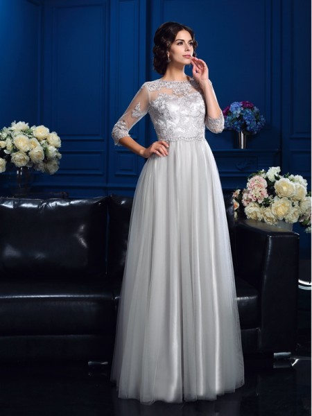 A-Line/Princess Scoop Applique 3/4 Sleeves Elastic Woven Satin Mother of the Bride Dress