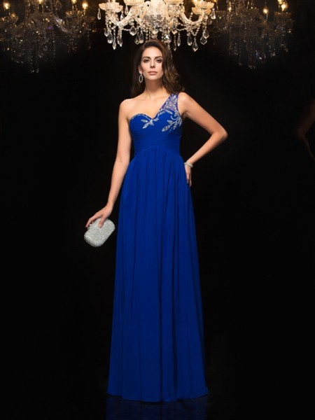 A-Line/Princess One-Shoulder Beading Chiffon Dress
