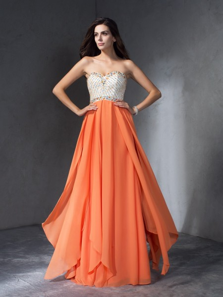A-Line/Princess Beading Sweetheart Chiffon Dress