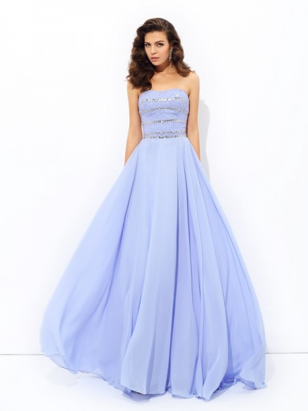 A-line/Princess Strapless Beading Chiffon Dress