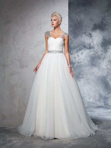 Ball Gown Straps Ruched Long Net Wedding Dress