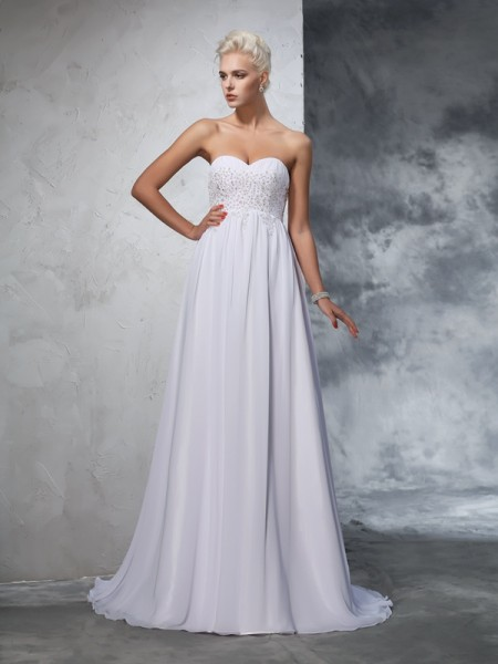 A-Line/Princess Sweetheart Beading Chiffon Wedding Dress