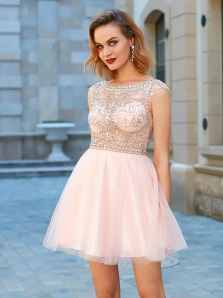 A-Line/Princess Scoop Net Short/Mini Dress