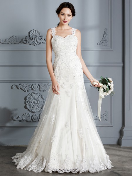 Trumpet/Mermaid Sweetheart Sleeveless Court Train Lace Wedding Dress
