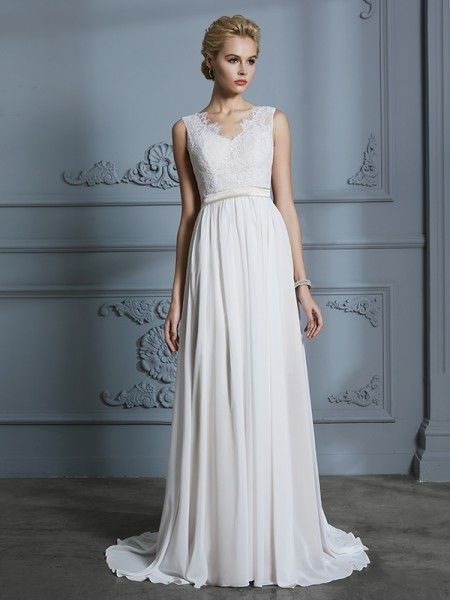 A-Line/Princess Sleeveless V-neck Chiffon Court Train Wedding Dress
