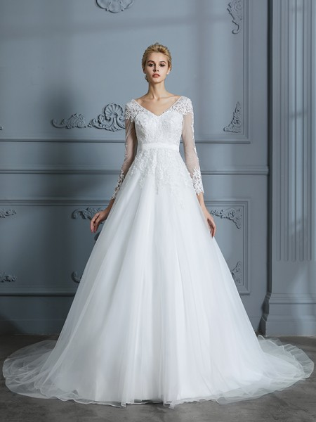 Ball Gown V-neck Long Sleeves Court Train Lace Tulle Wedding Dress