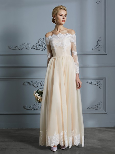 A-Line/Princess Off-the-Shoulder Long Sleeves Long Lace Tulle Wedding Dress