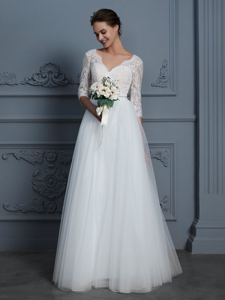 A-Line/Princess V-neck 3/4 Sleeves Long Lace Tulle Wedding Dress