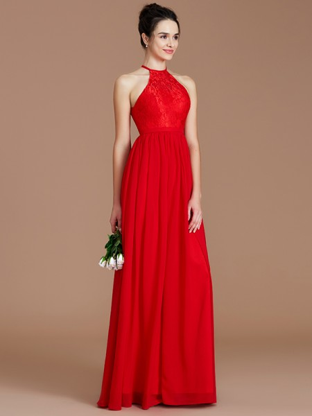 A-Line/Princess Halter Lace Floor-Length Chiffon Bridesmaid Dress