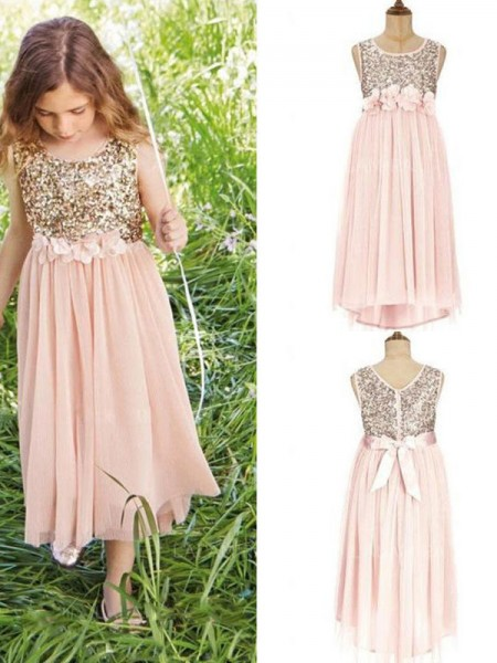 A-Line/Princess Sleeveless Scoop Tea-Length Sequin Chiffon Flower Girl Dress