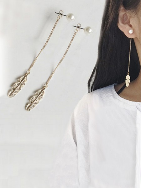 Vintage Long Chain Leaf With Pearl Earrings