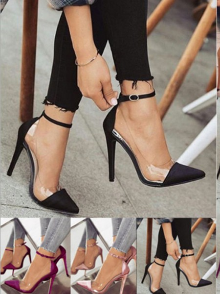 Ladies's PU Stiletto Heel Closed Toe High Heels