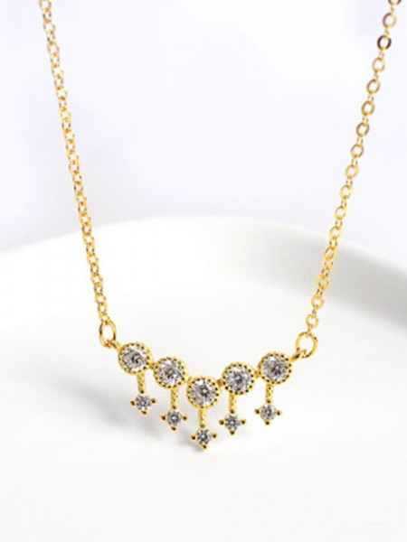 Gorgeous S925 Silver Necklaces With Rhinestone