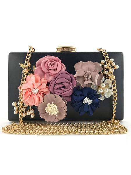 Elegant PU Bags With Flowers