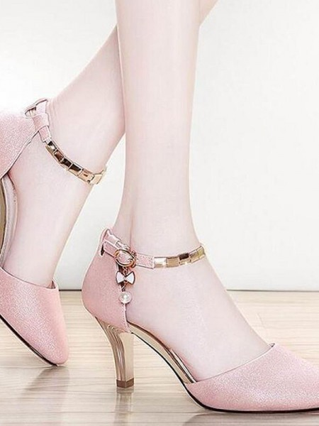Ladies's Leatherette Stiletto Heel Closed Toe Sandals